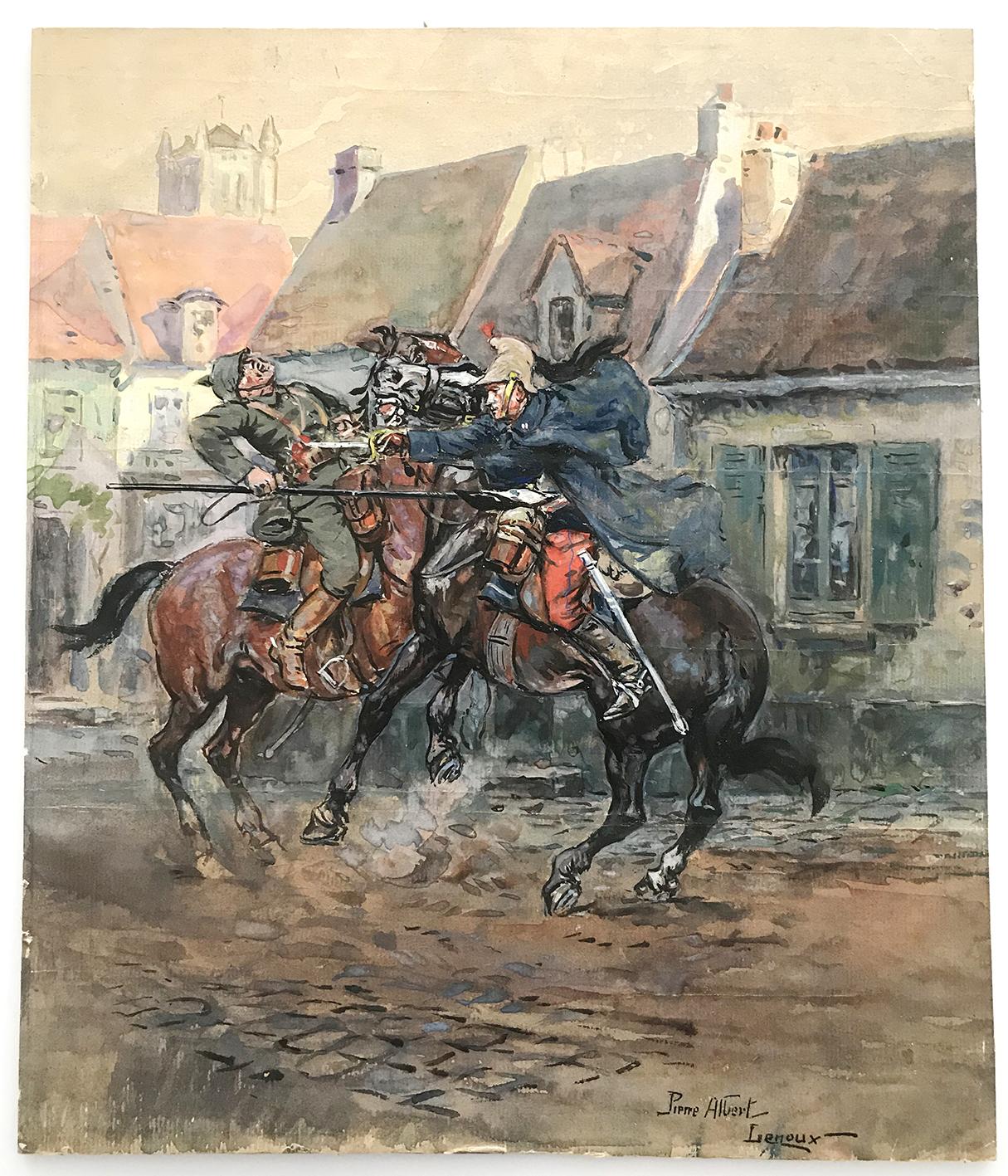 Peinture originale rehaussée - Combat 14/18 - Pierre Albert Leroux - Combat aux avant postes - gouache - Dragons contre Uhlan Prussien
