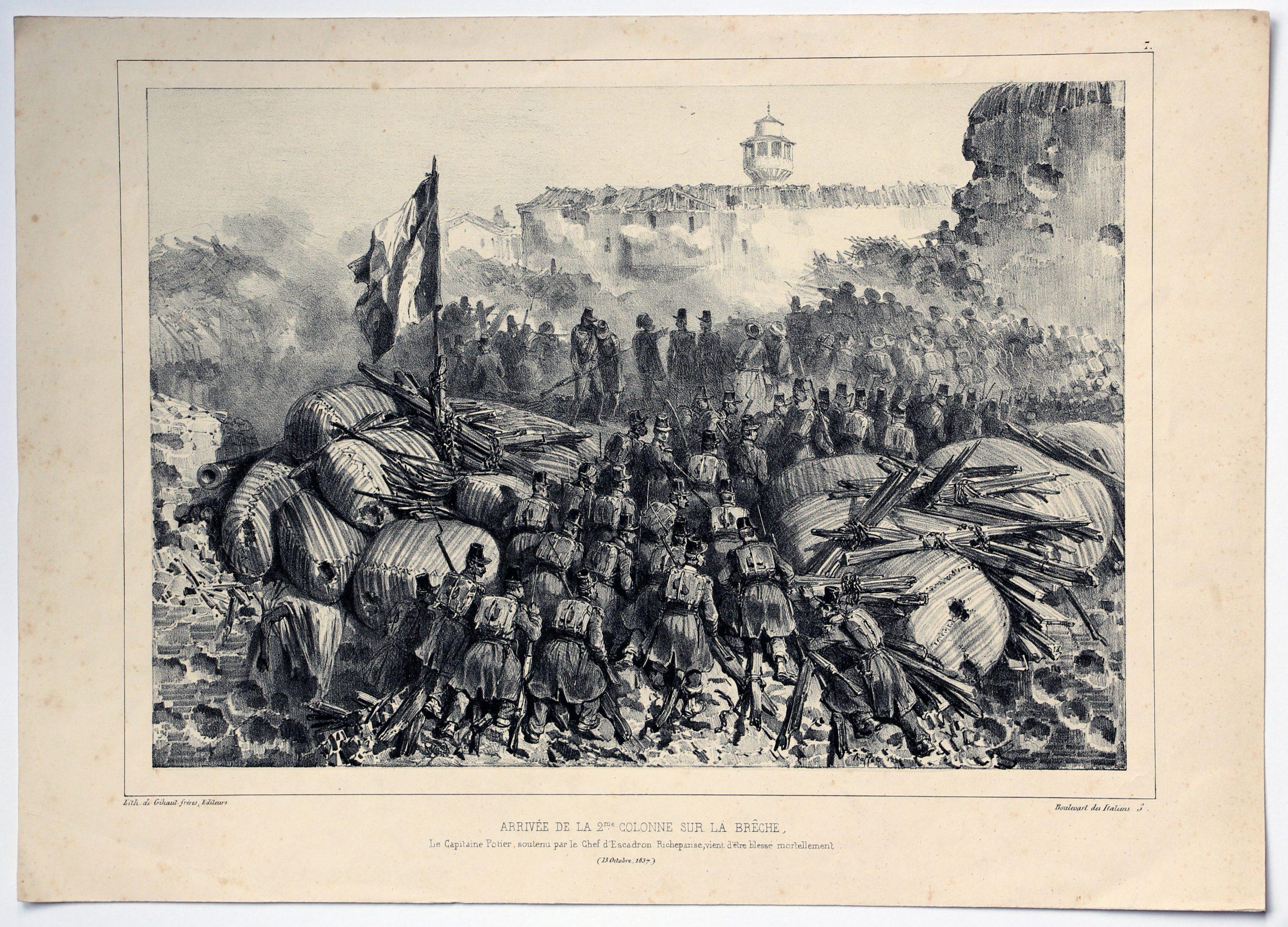 Gravure XIX - Raffet - Monarchie Juillet - Uniforme - Conquête Algérie - 2eme Colonne sur la brèche - 1837