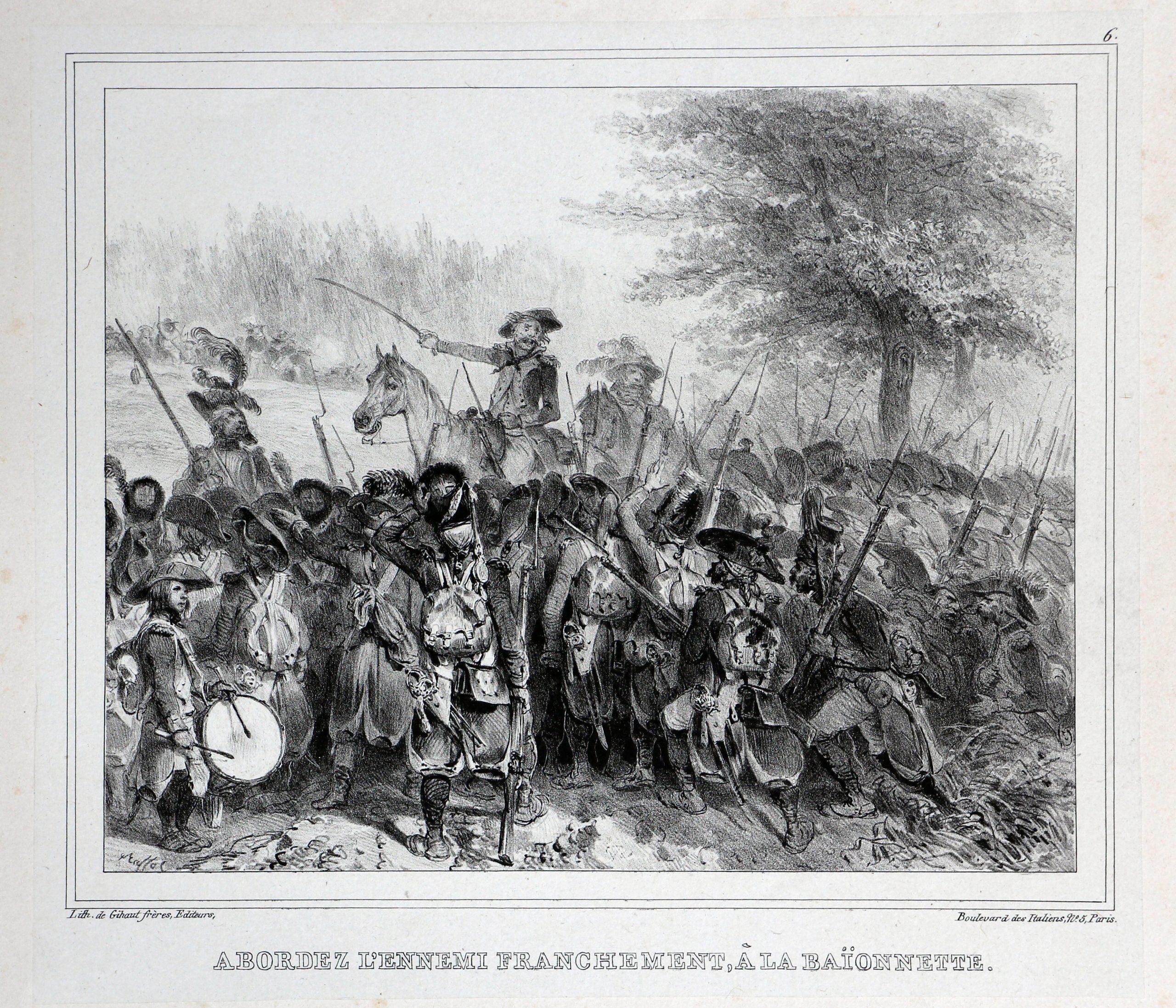 Gravure XIX - Raffet - Révolution - Empire - Abordez l'ennemi franchement, à la baïonnette - 1792