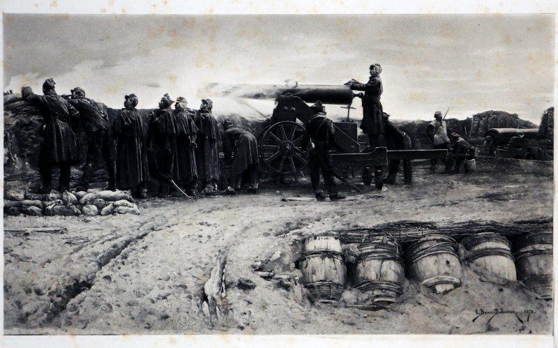 Gravures XIX - Siege de Paris - Étienne-Prosper Berne-Bellecour 1872 - Un coup de canon - Guerre 1870 - République - Second Empire