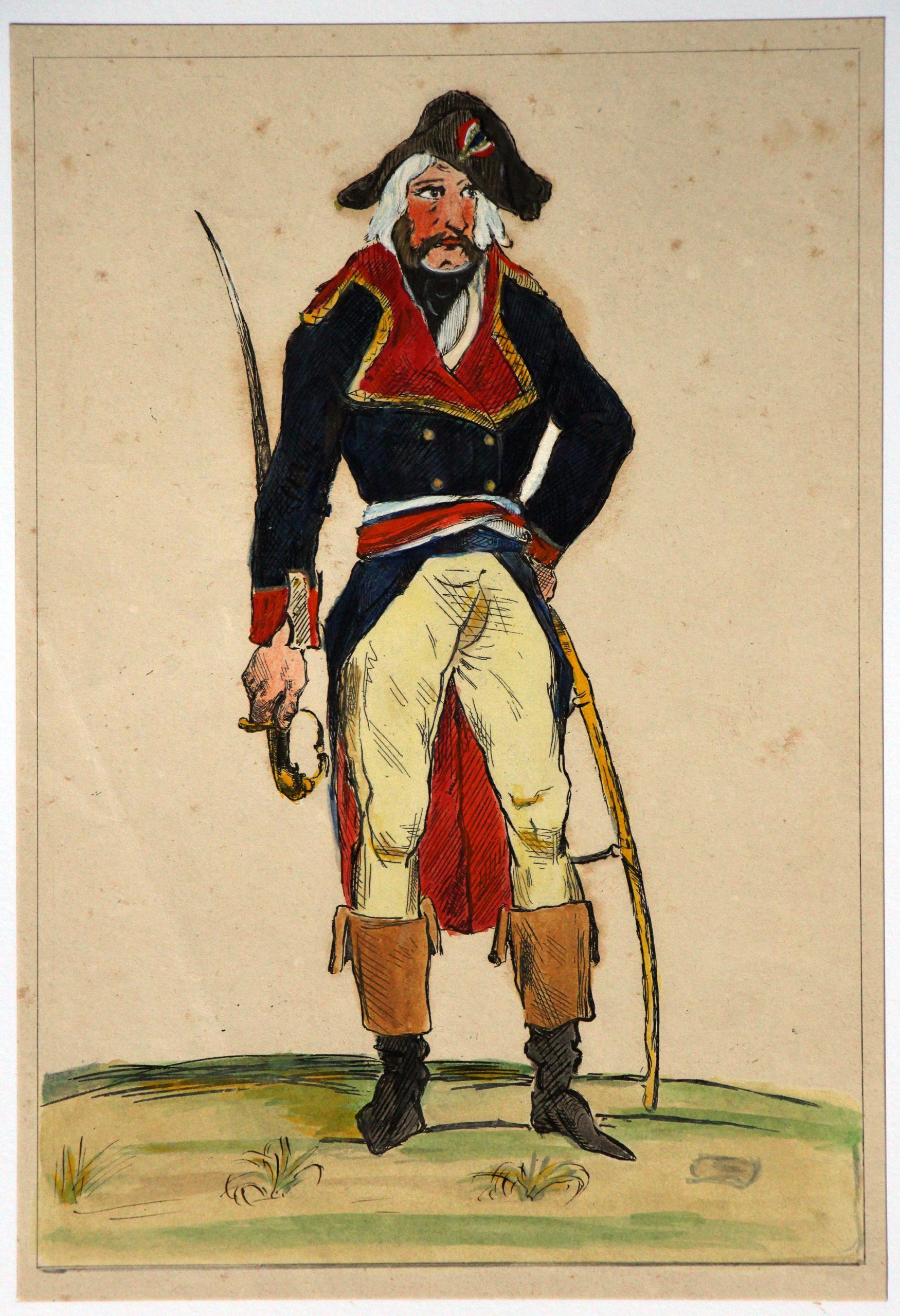 Gravure XIX Rehaussée à la main - D'aprés Raffet - Révolution - Un général de l'Armée du Rhin - 1794 - Uniforme