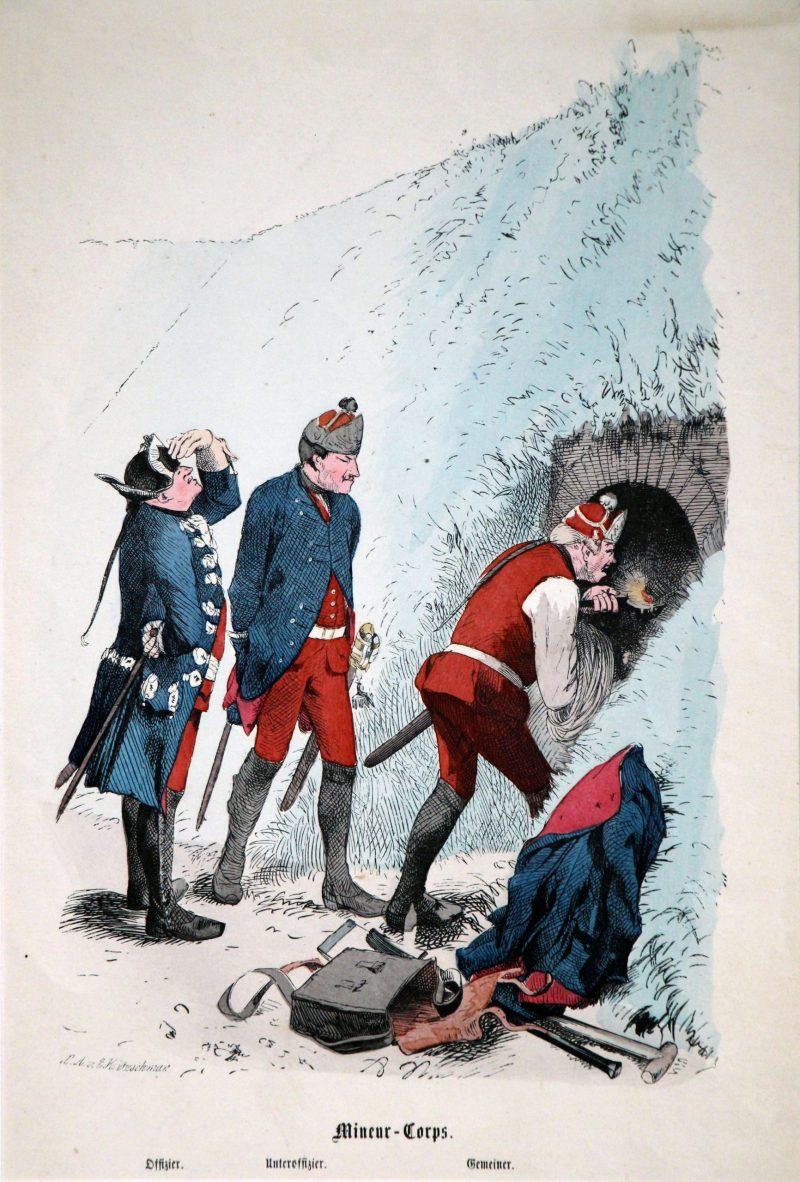 3 Gravures XIX - Prusse - Guerre de 7 ans - Uniforme - Chasseur à Cheval - Mineur Sapeur - Chasseur