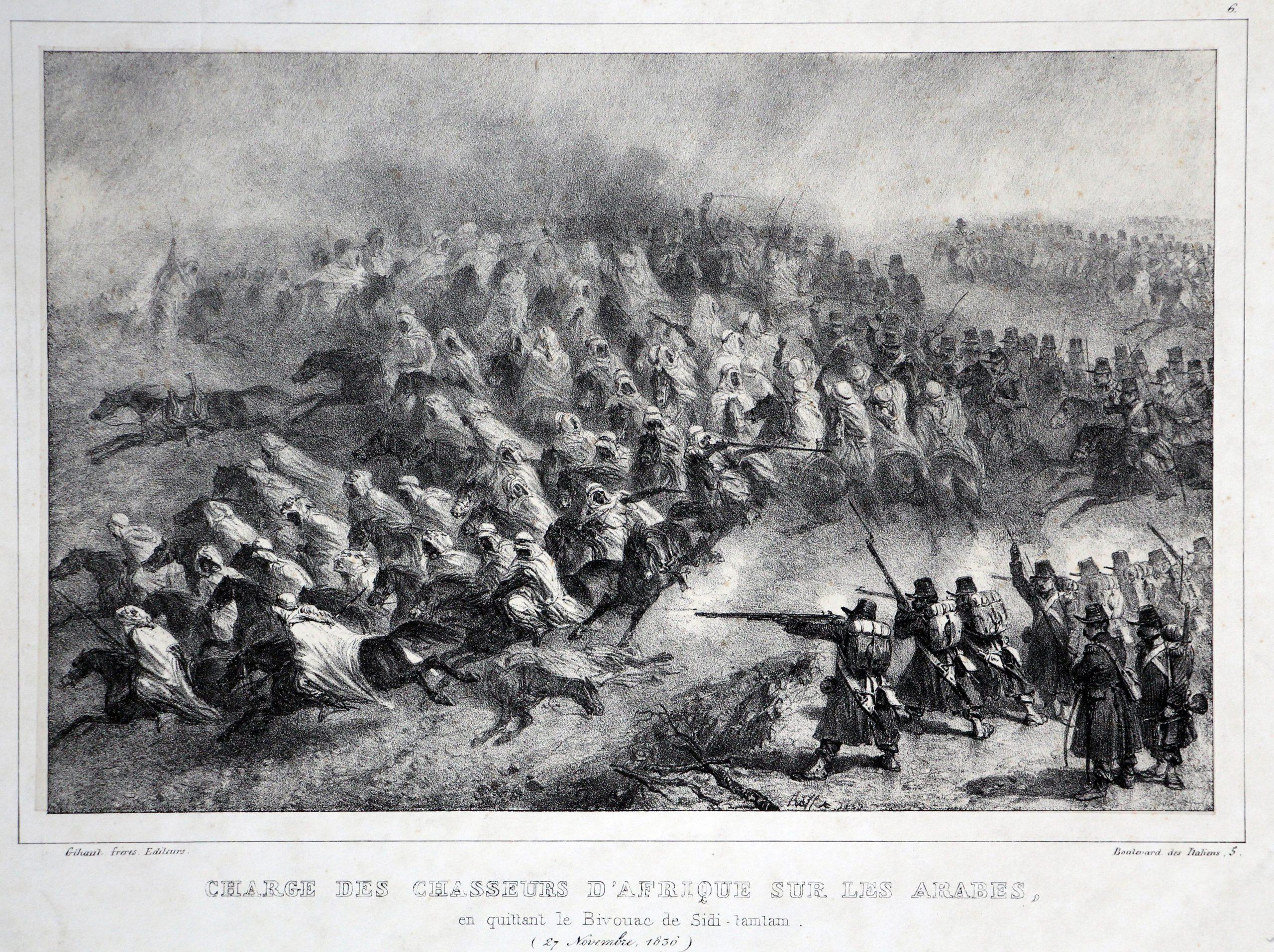Gravure XIX - Raffet - Monarchie Juillet - Uniforme - Conquête Algérie - Charge des chasseurs d'Afrique sur les Arabes - 1836
