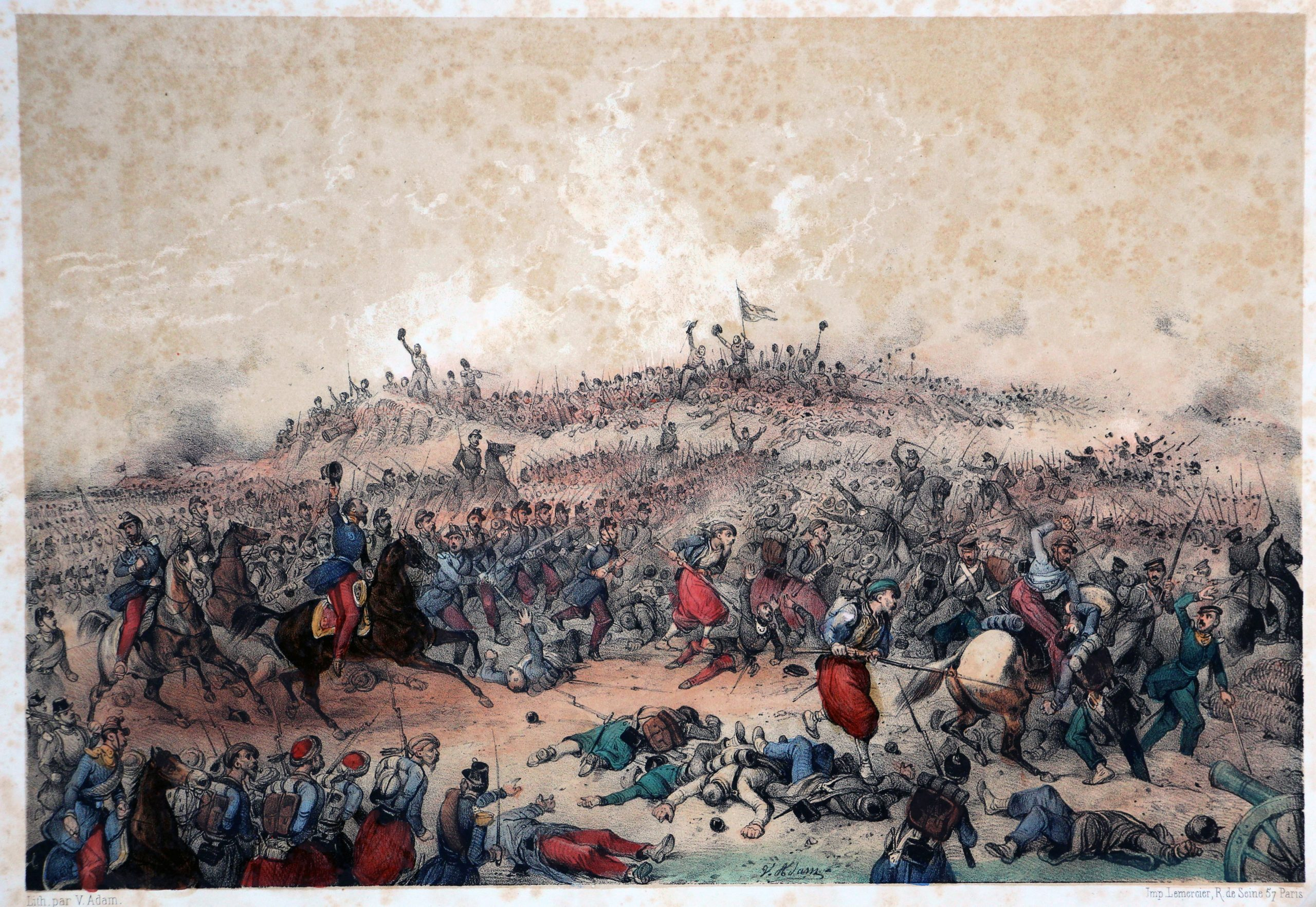 Gravures XIX - Victor Adam - Second Empire - Uniforme - Guerre de Crimée - Bataille d'Inkermann - Division Bousquet s'élance contre les Russes.