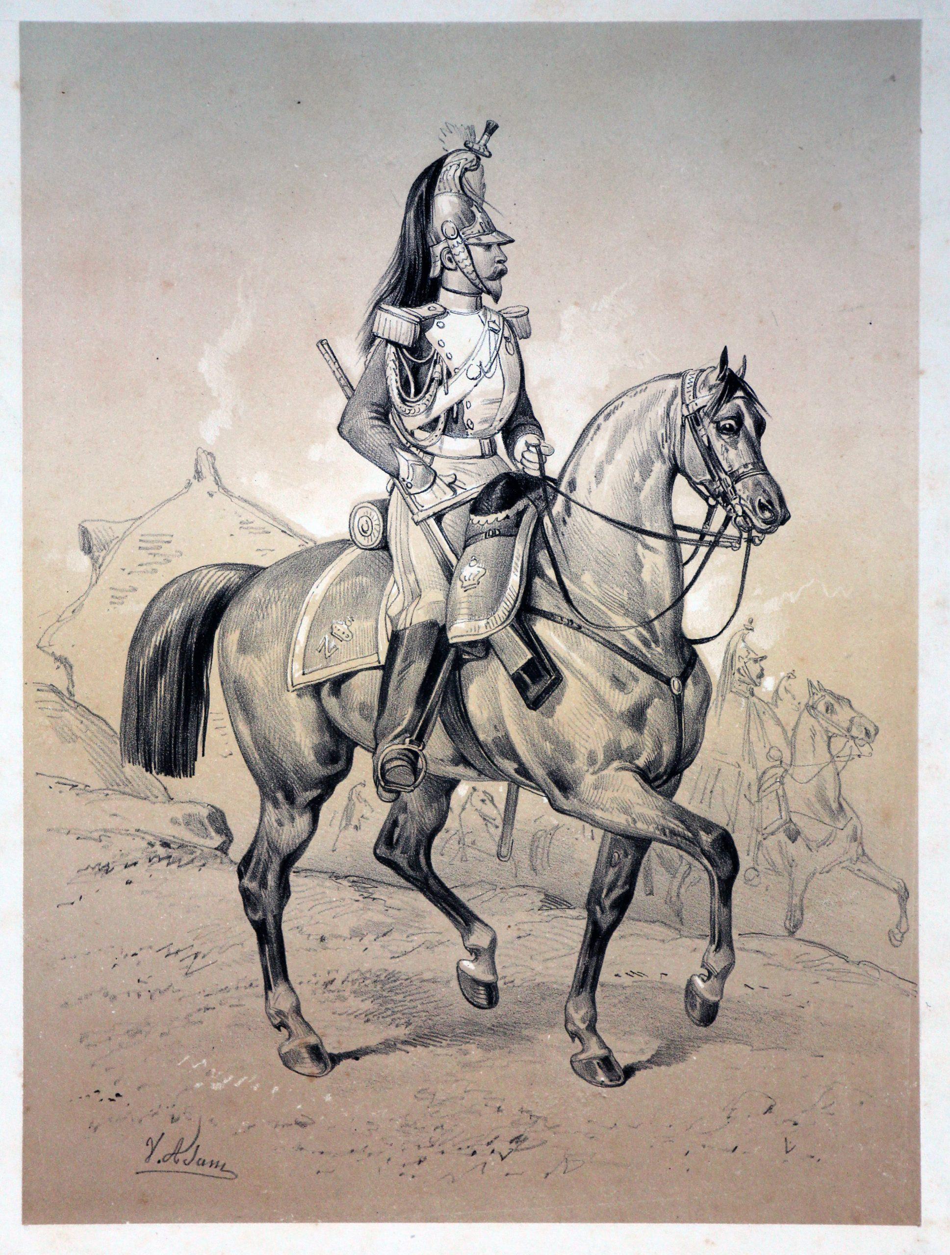 Gravures XIX - Victor Adam - Second Empire - Uniforme - Dragons de la Garde Impériale - Napoléon III - Cavalerie