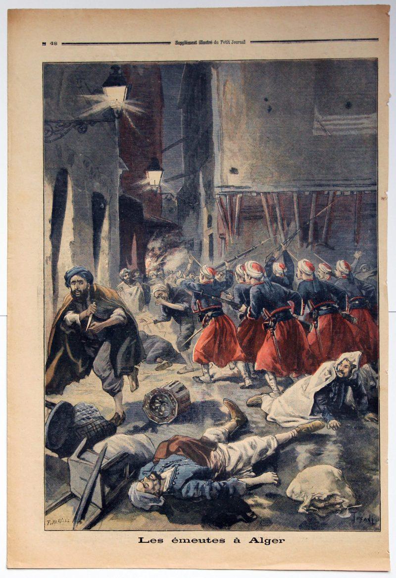 Le petit journal - supplément illustré - Les Emeutes à Alger - Illustration seule