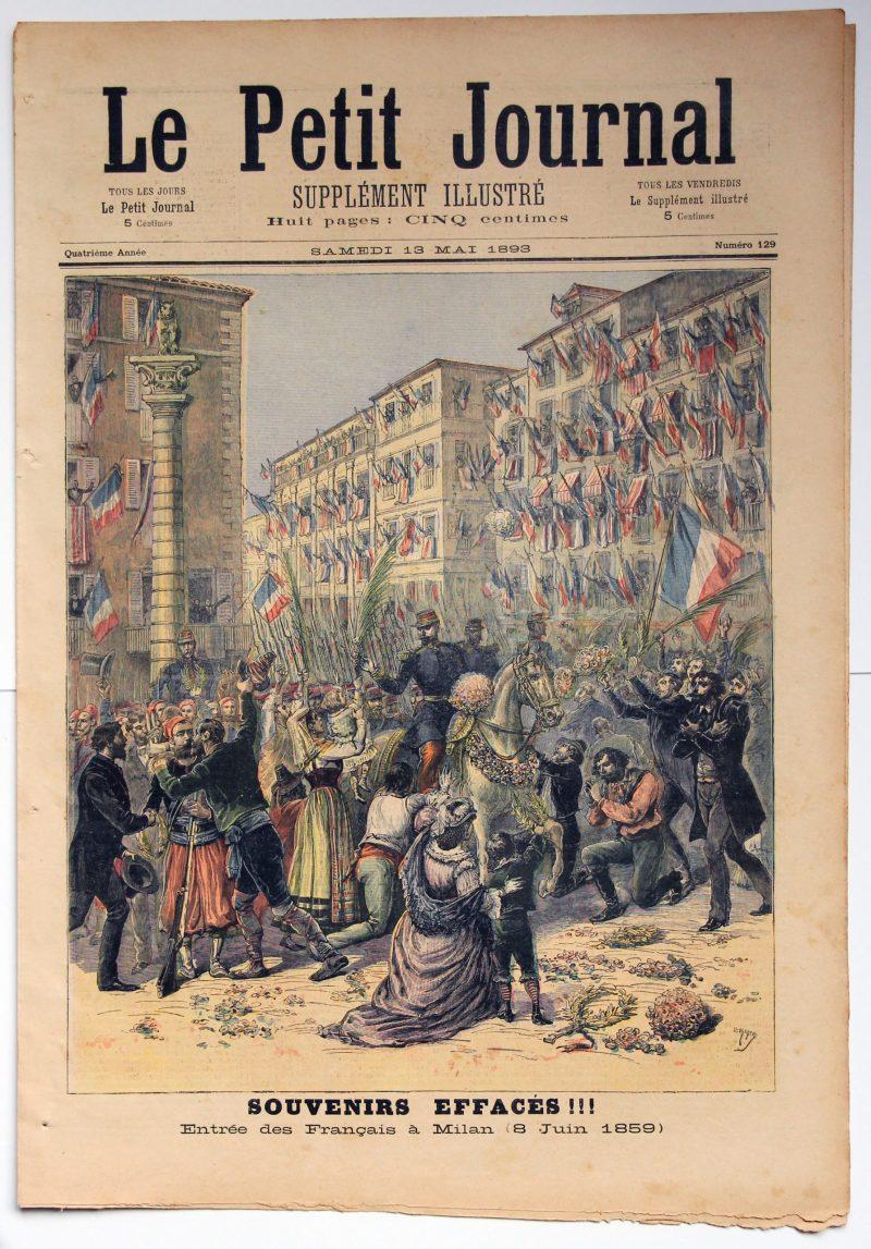 Le petit journal - supplément illustré - 13 mai 1893 - Souvenir Effacés - Entrée des Français a Milan 1859