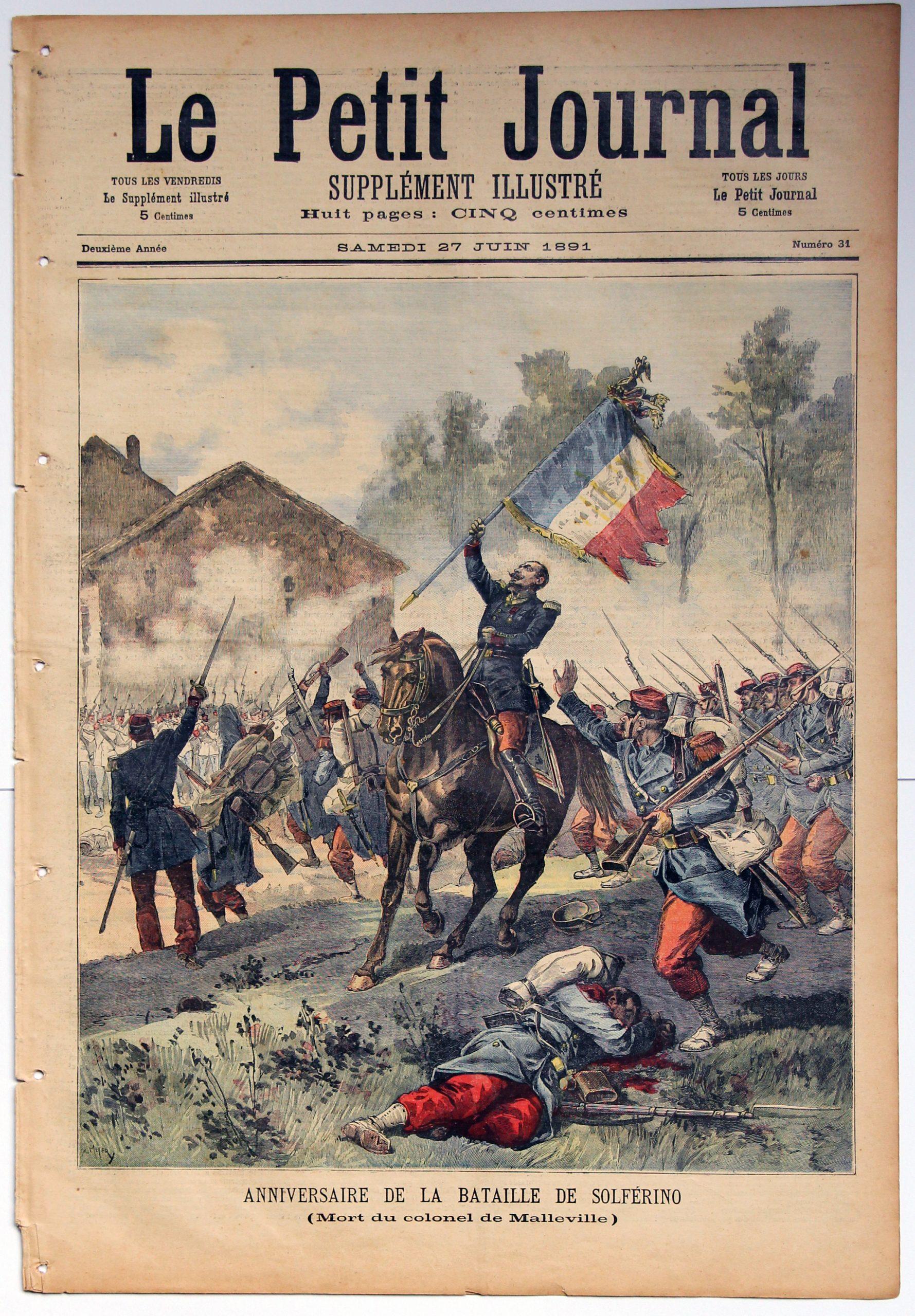 Le petit journal - supplément illustré - 27 juin 1891 - Anniversaire de la Bataille de Solférino