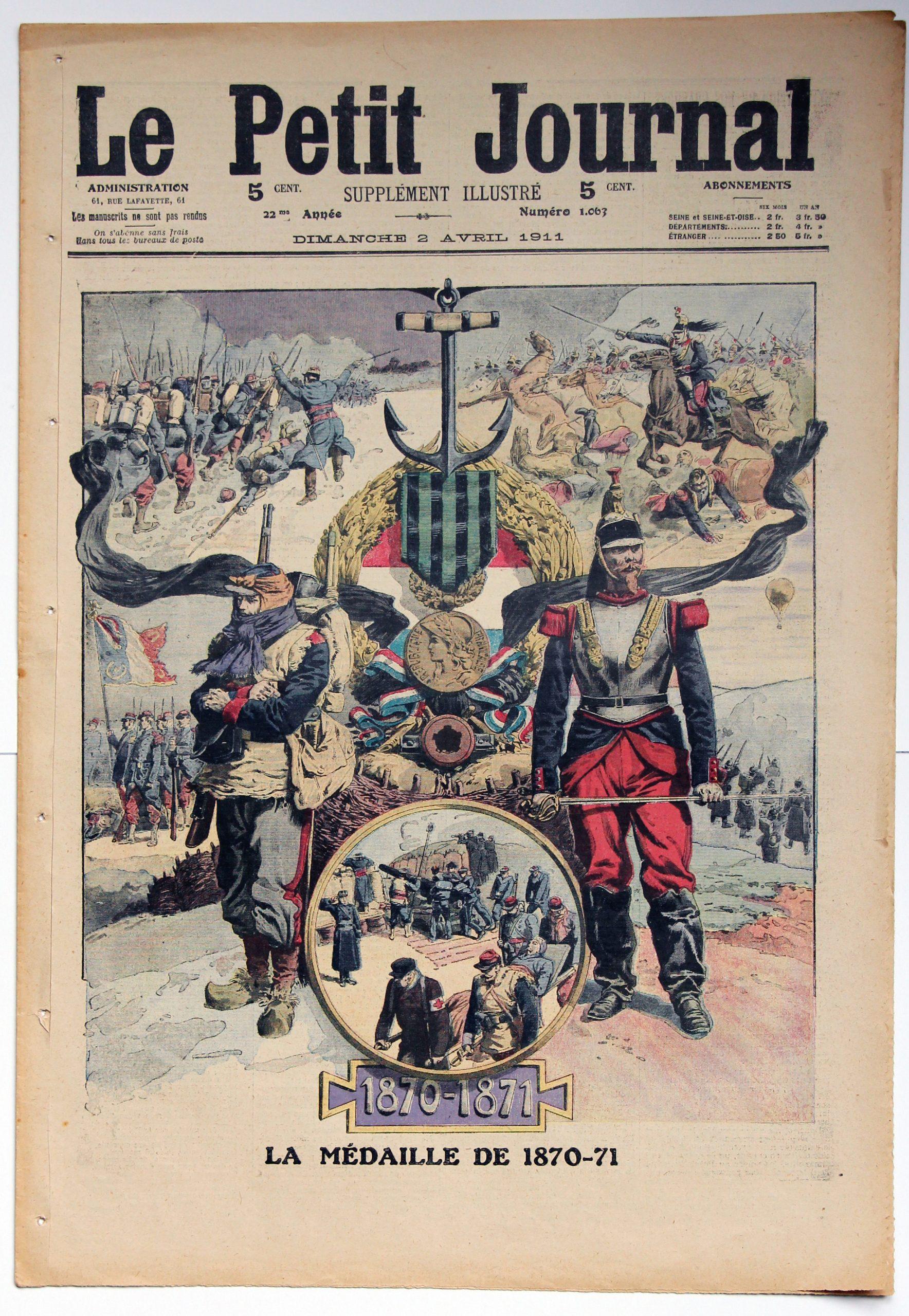 Le petit journal - supplément illustré - 2 avril 1911 - Guerre 1870 - La médaille de 1870-71