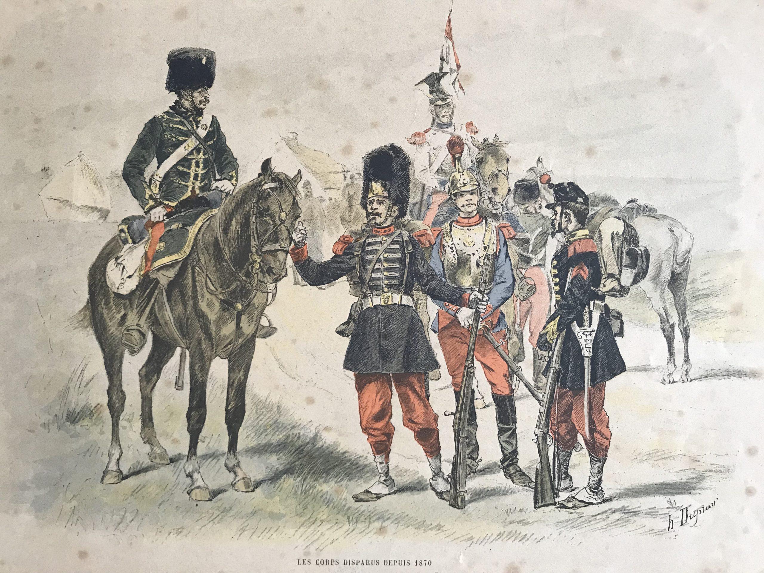 Gravures XX - Les corps disparus depuis 1870 - Armée Française - Dupray - Garde Impériale - Lancier - Carabinier
