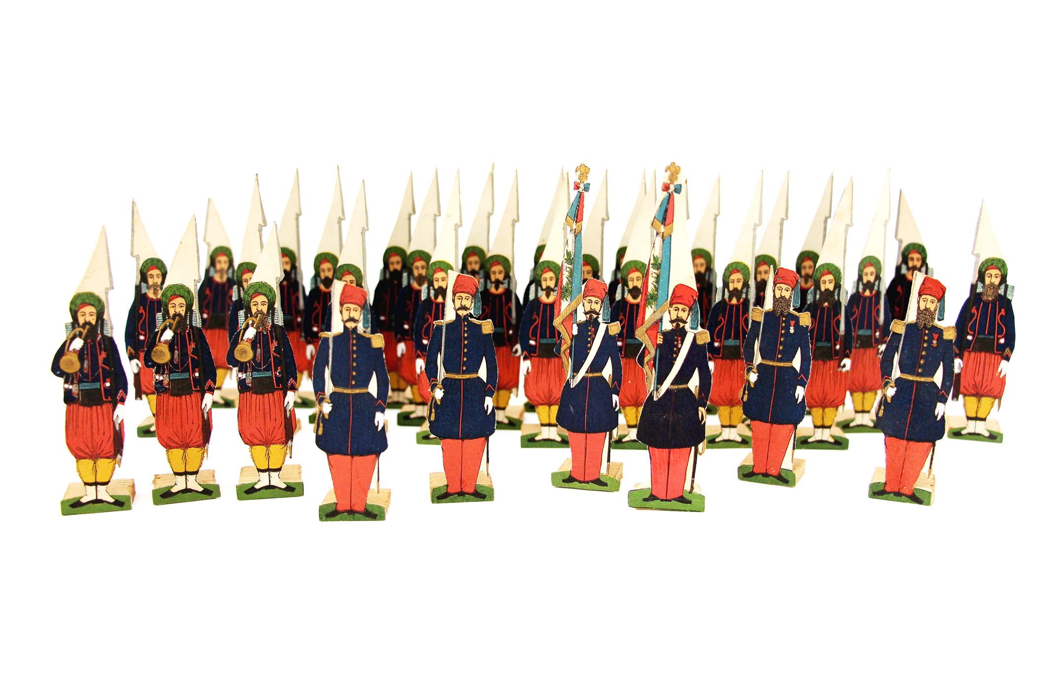 34 Petits Soldats de Strasbourg - Zouaves de Ligne 1845 - Planche Silbermann- Uniforme - Second Empire - Monarchie de Juillet
