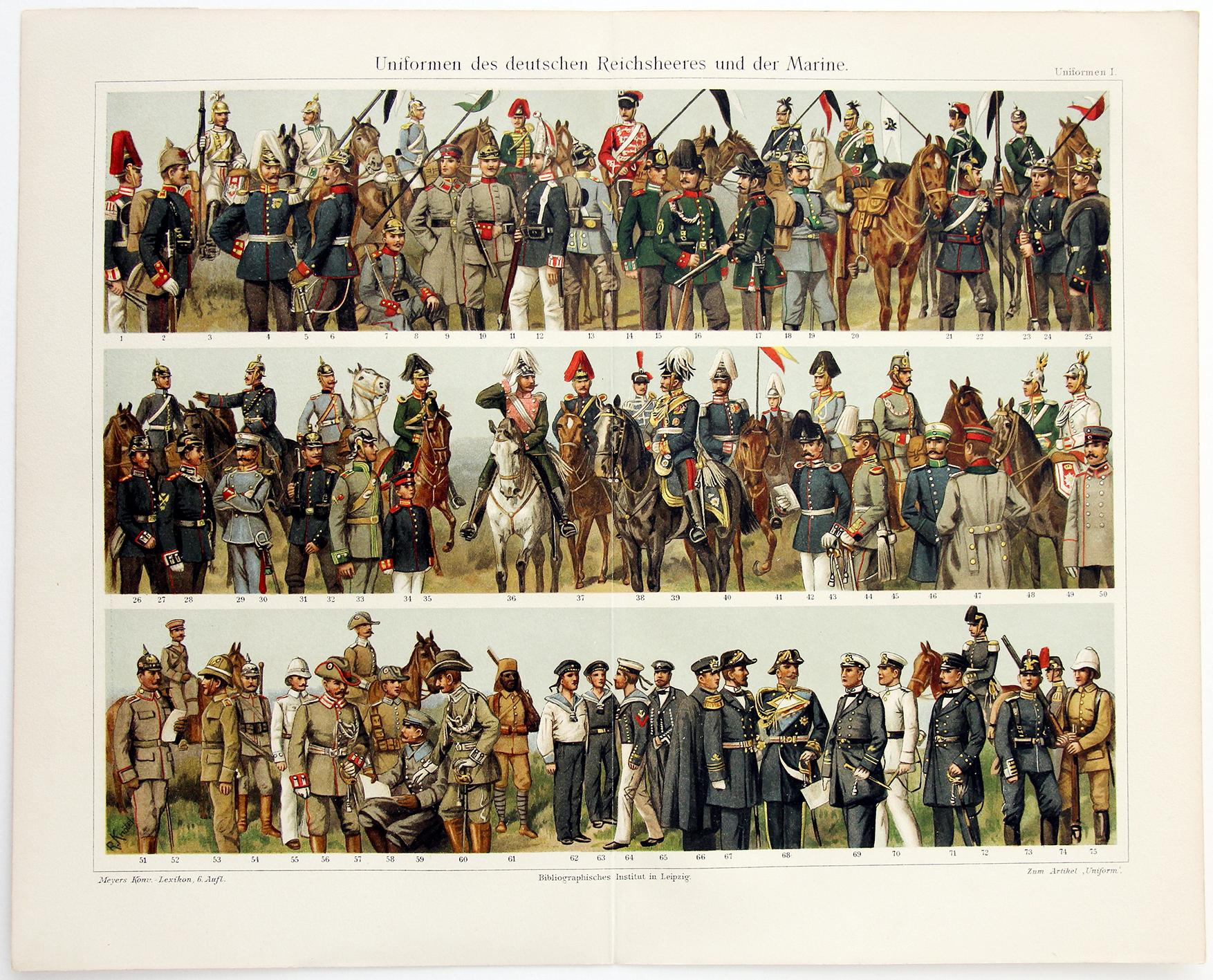 Uniformes Début XX - Planche Knötel Richard - Uniformen des deutschen Reichsheeres und Marine - Europe avant guerre - Chromolithographie