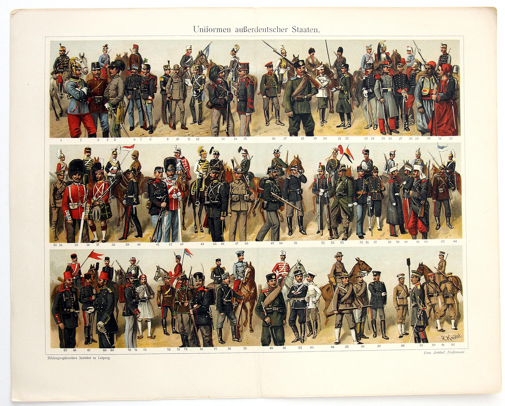 Uniformes Début XX - Planche Knötel Richard - Troupes diverses - Europe avant guerre - Chromolithographie