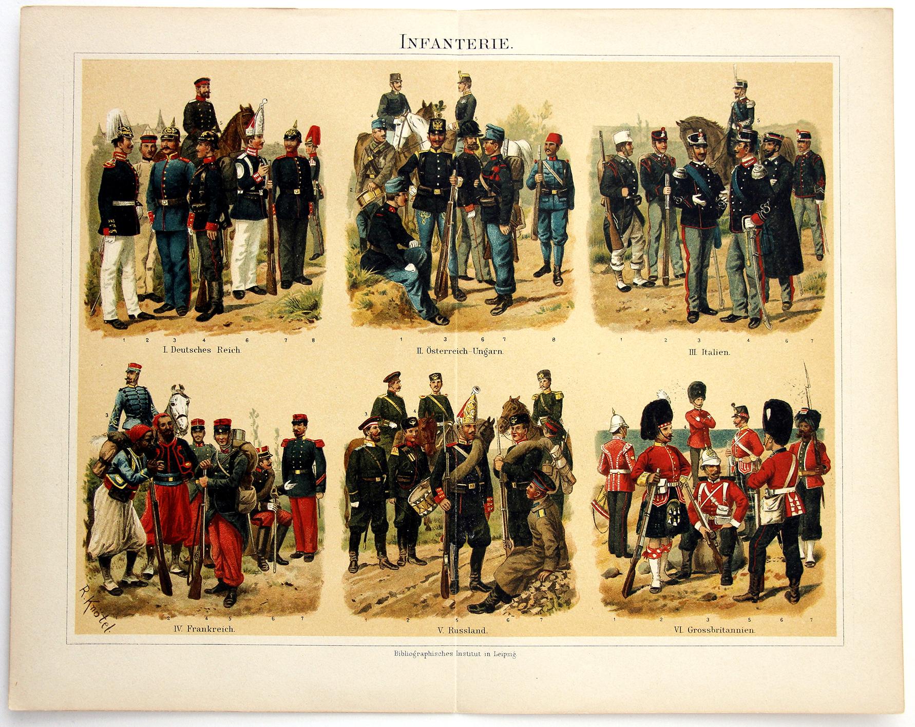 Uniformes Début XX - Planche Knötel Richard - Uniformen Infanterie - Europe avant guerre - Chromolithographie