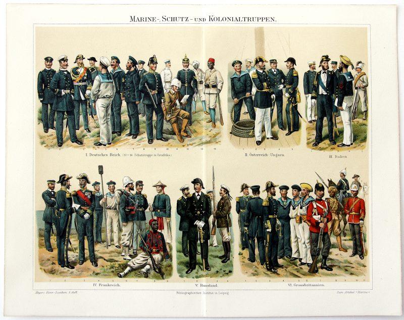 Uniformes Début XX - 6 Planches Knötel Richard - Uniformen Artillerie - Infanterie - Cavalerie - Marine - Train - Santé - Europe avant guerre - Chromolithographie