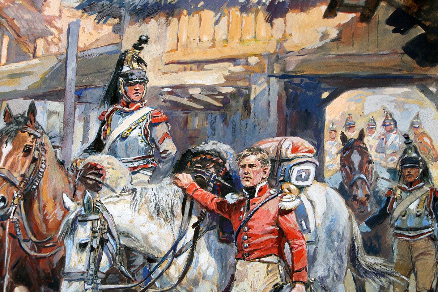 Peinture originale rehaussée - Halte de Cuirassiers - Maurice Toussaint - Gouache - 1er Régiment - Napoléon - 1er Empire - Uniforme