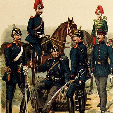 Uniformes Début XX - Planche Knötel Richard - Uniformen Artillerie - Europe avant guerre - Chromolithographie