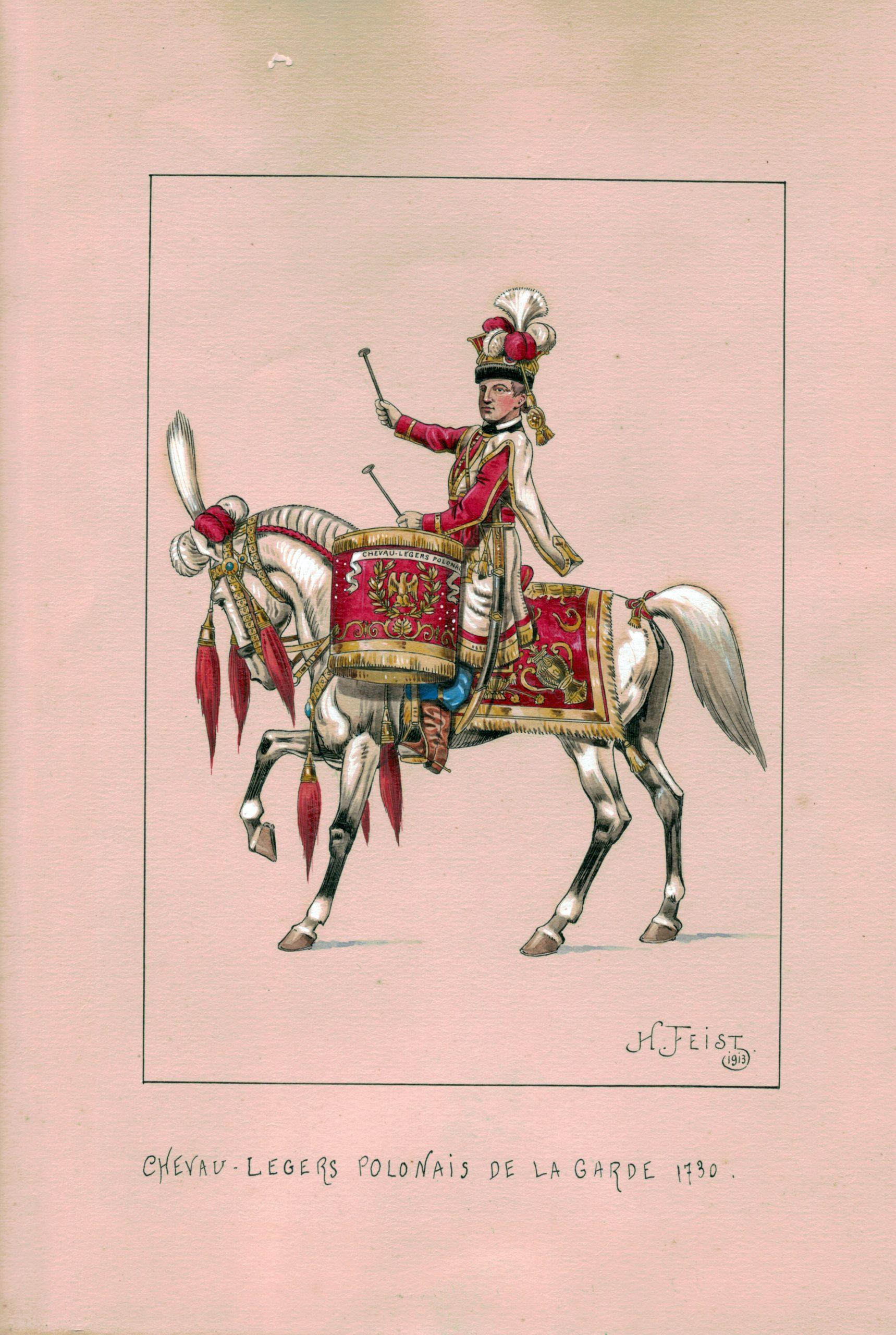 Timbalier - Garde Impériale - Henri Feist - Gouache - 1er Empire - Uniforme - Chevau légers Polonais