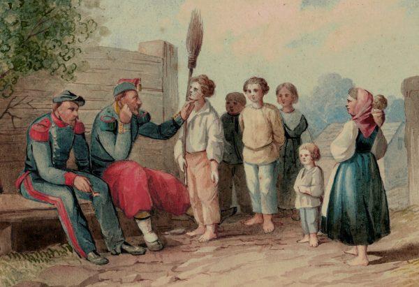 Aquarelle Dessin - Retour au village - Soldat d'infanterie et artillerie - Second Empire - Conscription - Campagne Napoléon III