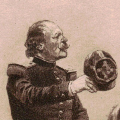 Gravure du Général Canrobert et carte de visite avec remerciements - Guerre 1870 - Second Empire - Napoléon III - François Marcellin Certain de Canrobert