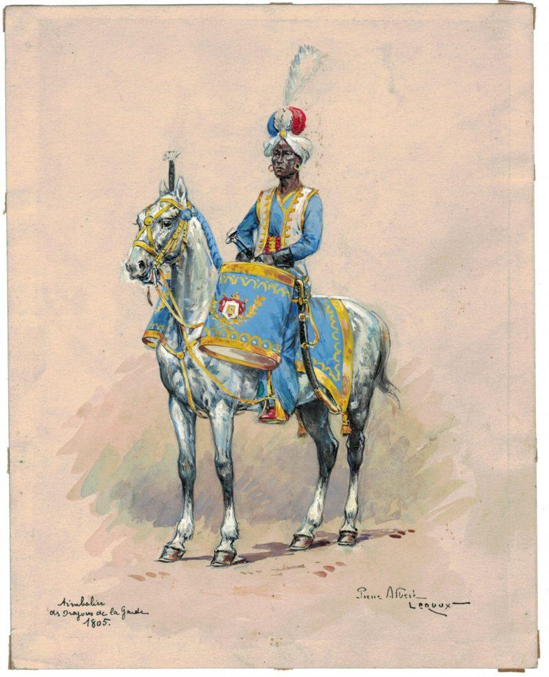 Peinture originale rehaussée - Timbalier des Dragons de la Garde - Pierre Albert Leroux - Gouache - Napoléon - 1er Empire - Uniforme