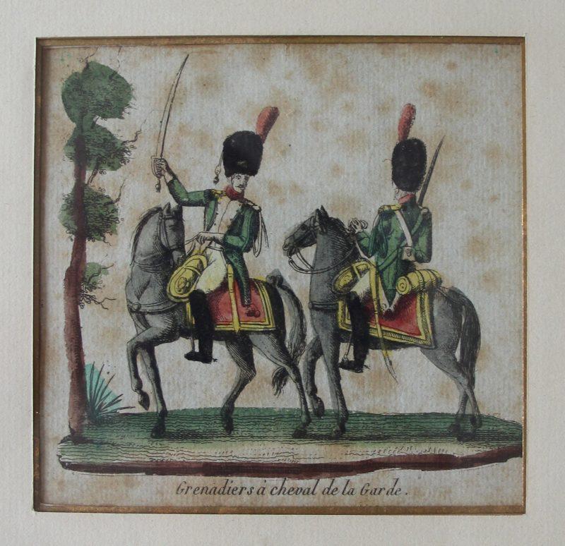 2 Gravures XIX - Troupes françaises Empire - Grenadiers à Cheval de la Garde et Chevau-légers Lanciers de la Garde - Uniforme