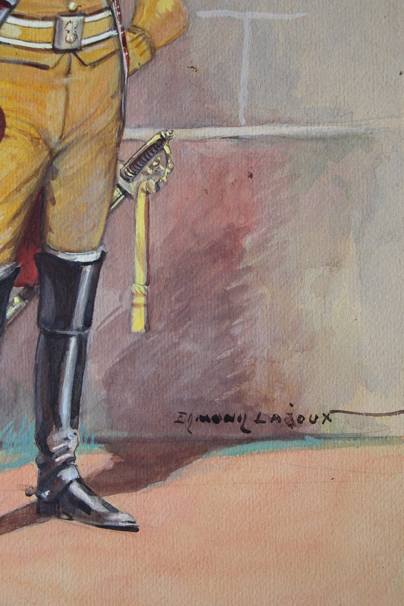 Peinture originale rehaussée - Edmond Lajoux - Trompette de Gendarmerie Impériale - 1er Empire