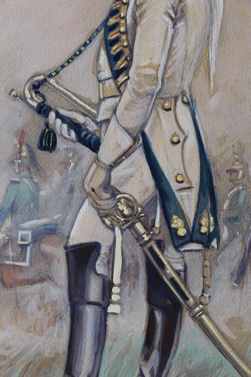 Peinture originale rehaussée - Edmond Lajoux - Trompette de Dragons de la Garde - 1er Empire