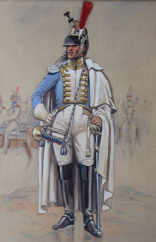 Peinture originale rehaussée - Edmond Lajoux - Trompette de Cuirassier Hollandais - 1er Empire
