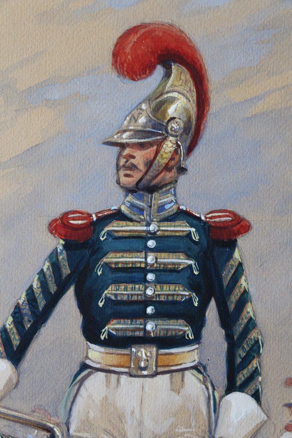 Peinture originale rehaussée - Edmond Lajoux - Trompette de Carabinier - 1er Empire