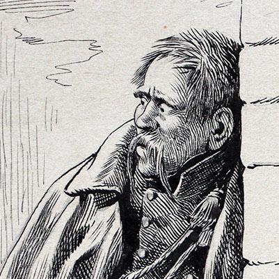 Superbe dessin encre de chine - JOB - Guerre de 1814 - Prussien prisonniers - Original - Uhlan - Une exécution - François Buchamor
