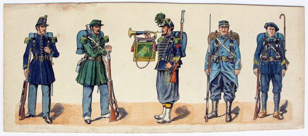 Dessin original - Planche Hector Large - Chasseurs à Pied - Uniforme - 1845/1920