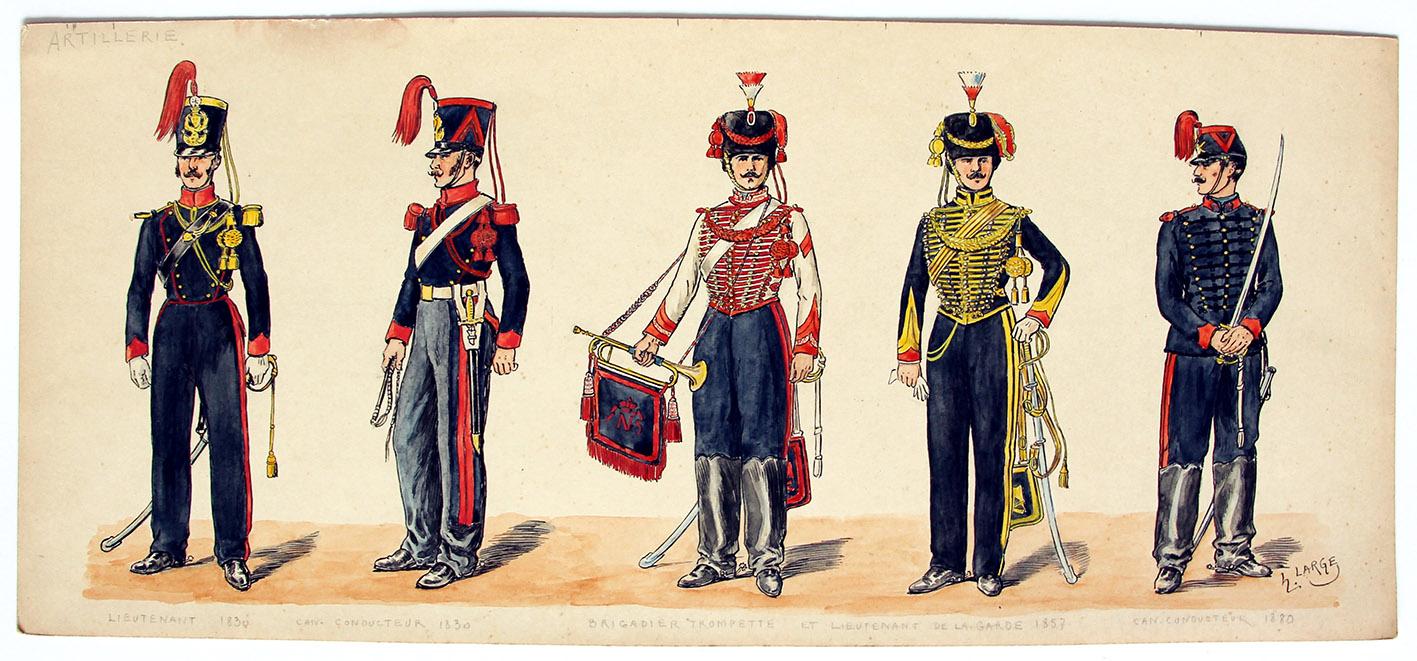 Dessin original - Planche Hector Large - Les Artilleurs - Uniforme - 1830/1880
