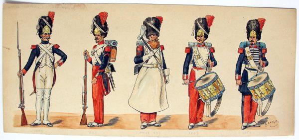 Dessin original - Planche Hector Large - Les Grenadiers de la Garde - Premier et Second empire - 1809/1860 - Napoléon III
