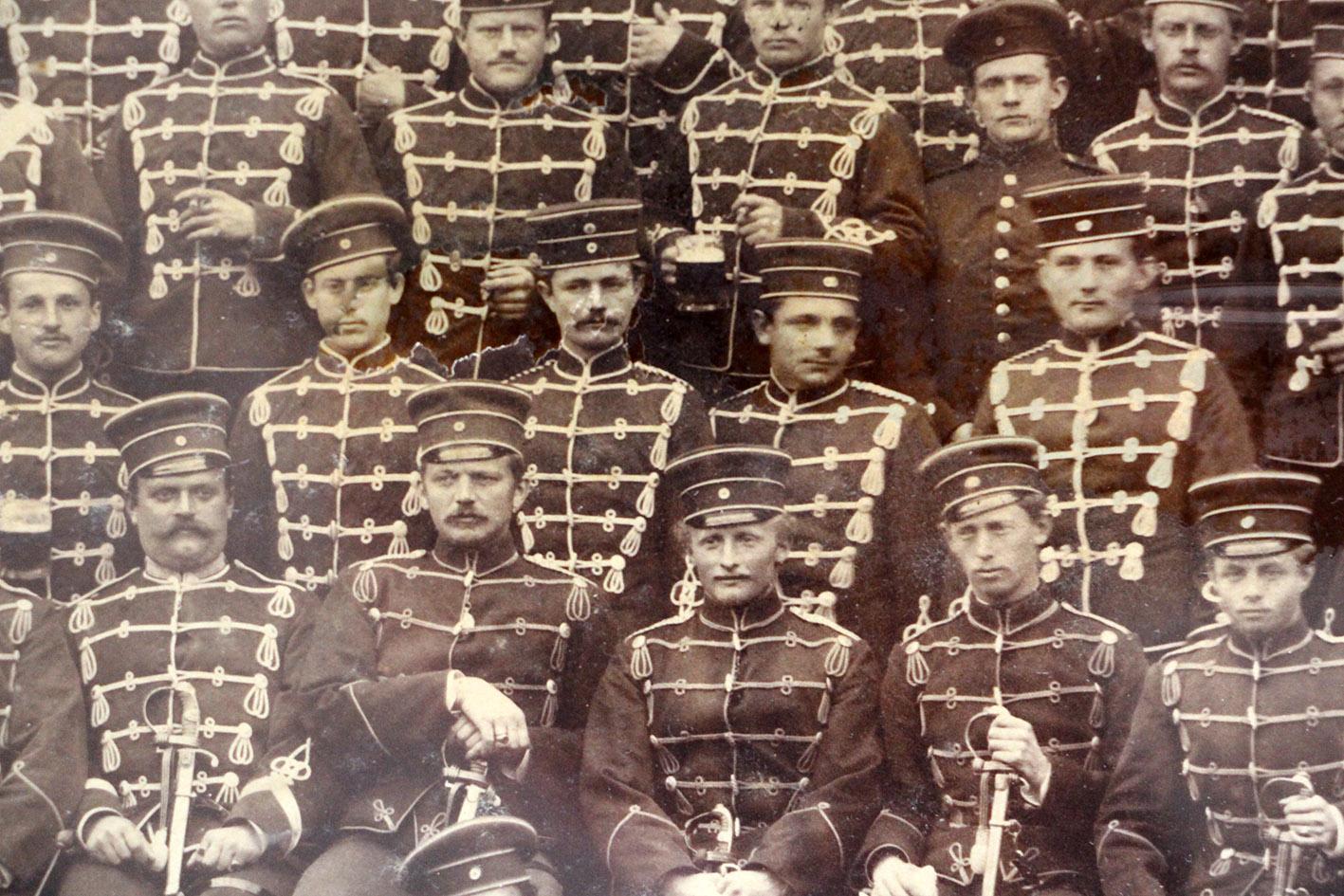 Ancienne Photographie - Hussards de Réserve - Prusse - Uniforme - Guerre 14/18 - Service Militaire
