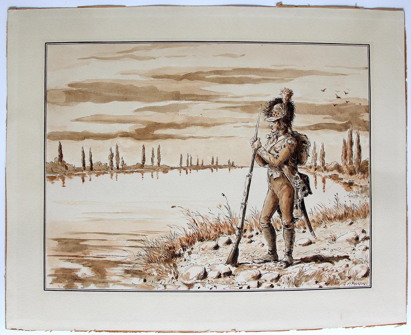 Superbe et Grand Dessin Encre de Paul Martin - La Garde du Rhin - Infanterie - Révolution