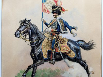 Grande Peinture originale rehaussée - Lucien Rousselot - Porte Étendard Artillerie à Cheval de la Garde - 1er Empire