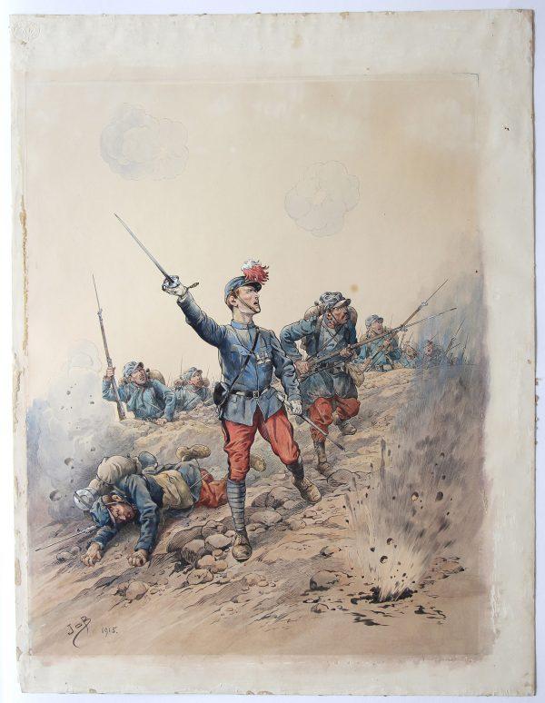 Superbe et Grande Peinture originale rehaussée - JOB - Guerre 14/18 - Charge infanterie - 1915