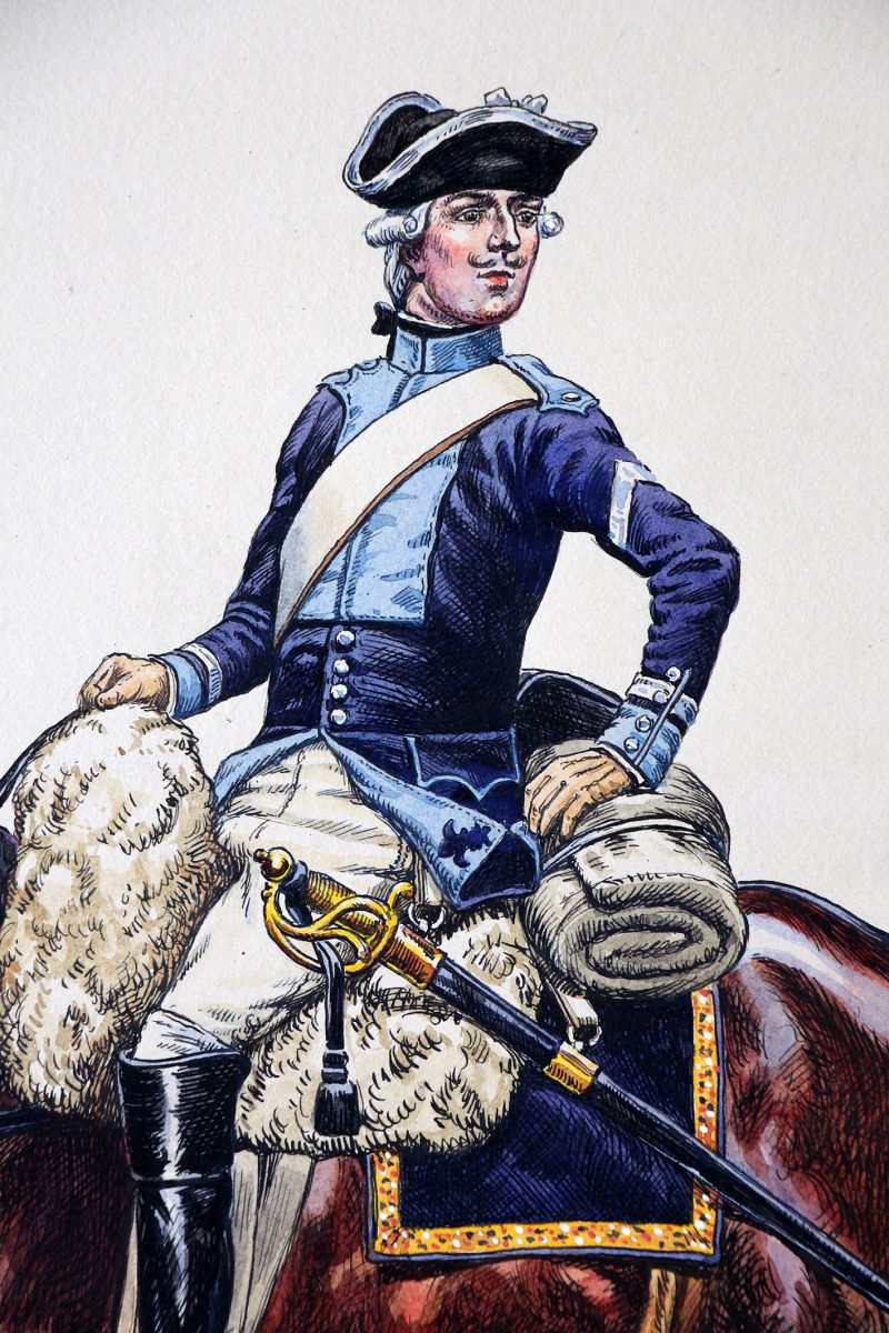 Superbe et Grande Peinture originale rehaussée - Pierre Benigni - rès belle aquarelle originale de Pierre Benigni. Royal Cravates Cavalerie (8 régiment) 1776 Maréchal des Logis.