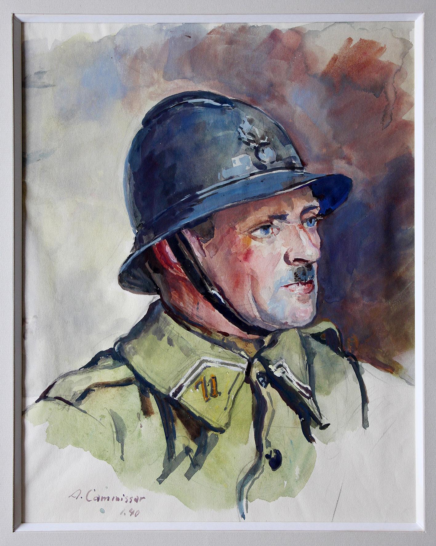 Grand Gouache Aquarelle - Auguste Cammissar - Drôle de Guerre - Soldat 1940 - Uniforme