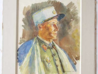 Grand Gouache Aquarelle - Auguste Cammissar - Drôle de Guerre - Soldat 1940 - Uniforme - Chasseur d'Afrique du 1er RCA entre 1939 et 1942