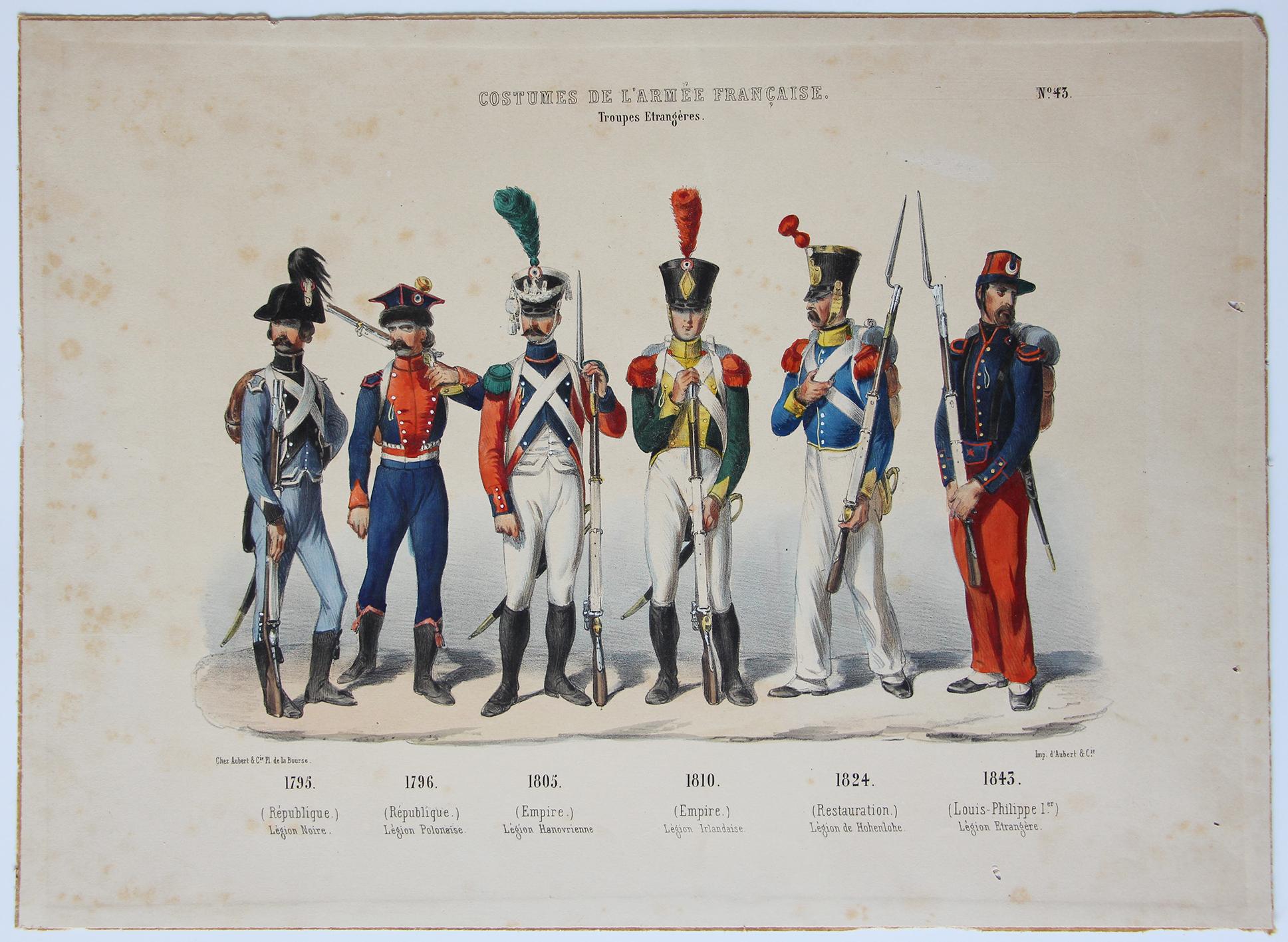 Planche ancienne sur l'armée Française - Charles Vernier - Costumes de l'armée Française - Troupes Étrangères - Rehaussée à la main