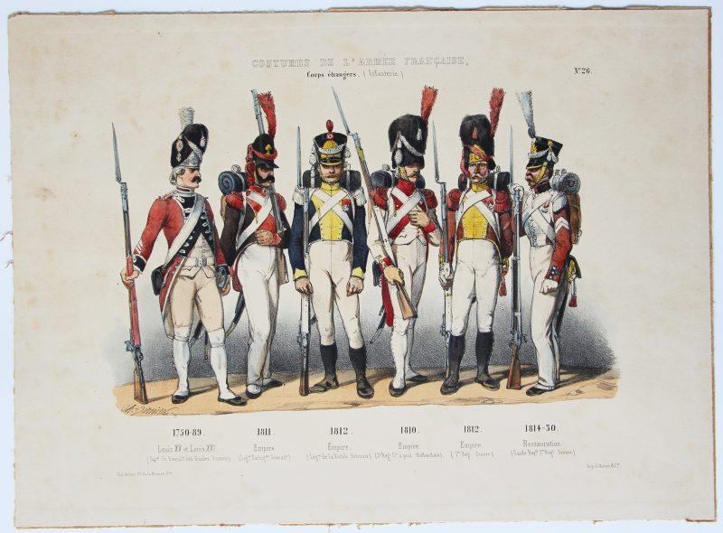 Planche ancienne sur l'armée Française - Charles Vernier - Costumes de l'armée Française - Corps Etrangers - Rehaussée à la main - Suisse