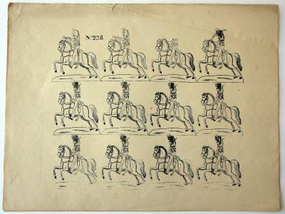 Planche Petits Soldats - Gravure sur bois sur grande feuille - Tirage imprimeur - Type tirage Epinal - Imagerie Pellerin - Cavalerie Chasseurs 1840