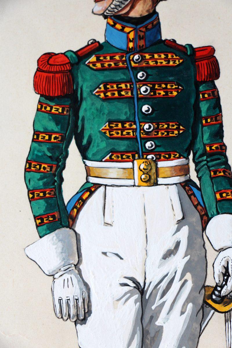 Peinture originale rehaussée - Carabiniers 1809/1815 - J.Huet - Gouache - Napoléon - 1er Empire - Uniforme