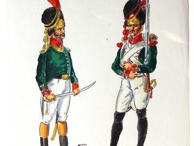 Peinture originale rehaussée - Hussards - Henry Boisselier - Gouache - Infanterie Légère Italie - Napoléon - 1er Empire - Uniforme