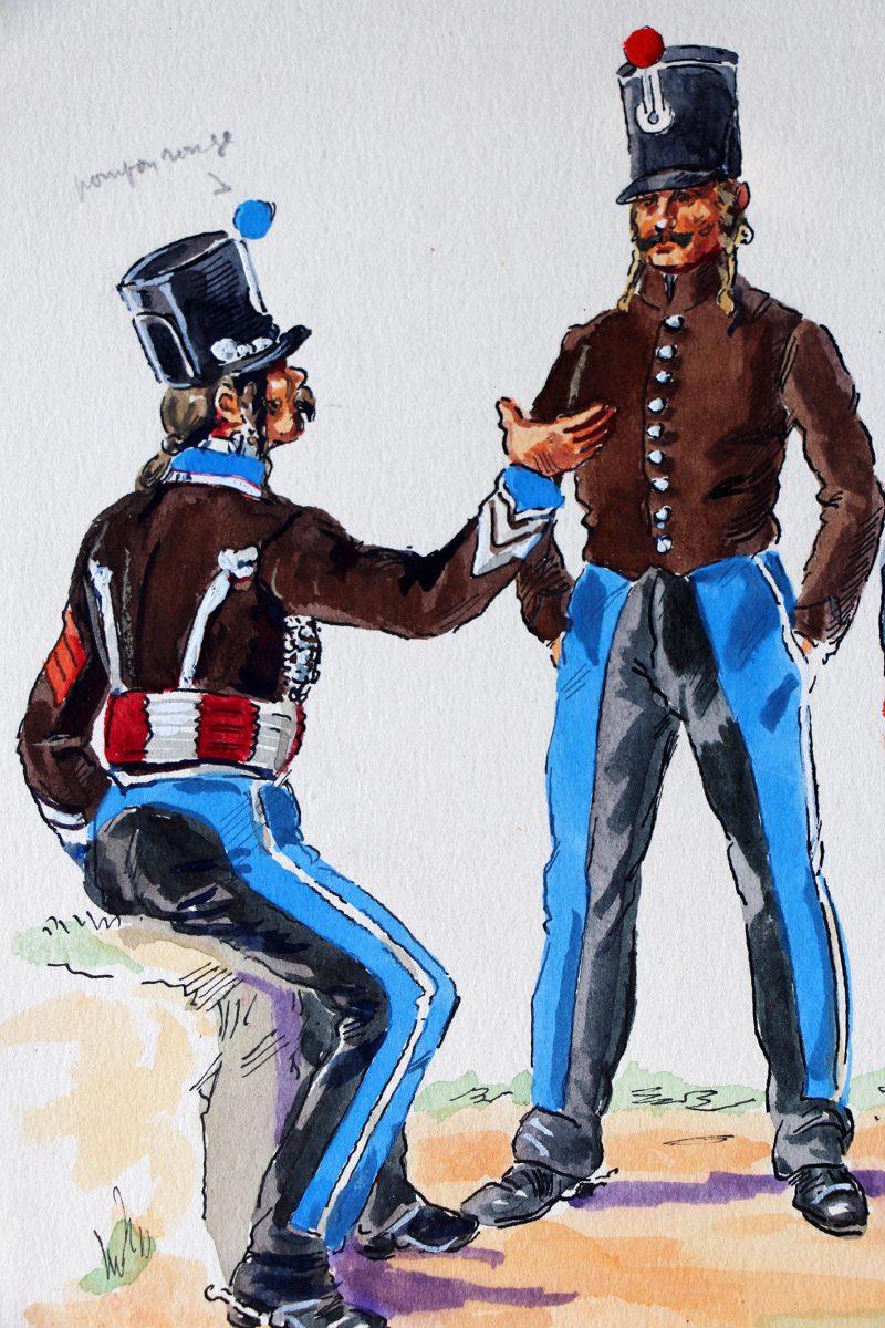 Peinture originale rehaussée - Hussards - Henry Boisselier - Gouache - 2ème et 3ème Régiment - Napoléon - 1er Empire - Uniforme
