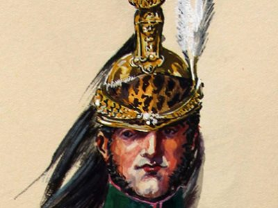 """""""Le portrait de Grouvel - il est alors colonel du 4e provisoire de dragons - la planche de la Sabretache est en N&B - alors soit Boisselier a copié la planche en restituant les couleurs, soit il a ensuite vu le tableau - comme le type est réellement classique, il est probable qu'il a travaillé à partir de la planche de la Sabretache (confère article sabretache décembre 1928 de Margerand) et que Grouvel à ensuite acheté la planche. Le plus intéressant d'ailleurs n'est pas le colonel mais le sapeur qui est à côté !"""