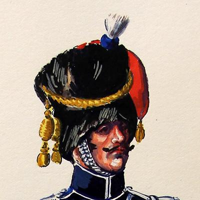 Superbe et Grande Peinture Encre et Gouache originale - Henry Boisselier - Officier train d'artillerie - Camp de Dresde - 1er Empire - Napoléon 1er