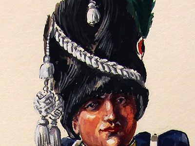 Superbe et Grande Peinture Encre et Gouache originale - Henry Boisselier - Fifre Chasseurs à Pied de la Garde Impériale - Collection Boersch - 1er Empire - Napoléon 1er